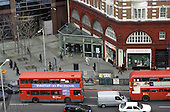 Buses in front of Elephant and Castle underground station, London