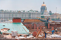 Saint Petersburg, Russia, June 2002..Russia's northern capital is undergoing major renovation and reconstruction in advance of its' 300th anniversary in 2003 - repairing the roof of the Peter Paul Fortress, the city's first building....