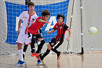 Hamza Alfayad of Selwyn College in action during the Futsal NZ Secondary Schools Junior Boys Final between Hamilton Boys High School and Selwyn College at ASB Sports Centre, Wellington on 26 March 2021.<br /> Copyright photo: Masanori Udagawa /  www.photosport.nz
