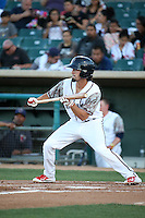 Aaron Mizell (13) of the Lancaster JetHawks attempts a bunt against the San Jose Giants at The Hanger on August 13, 2016 in Lancaster, California. Lancaster defeated San Jose, 16-2. (Larry Goren/Four Seam Images)