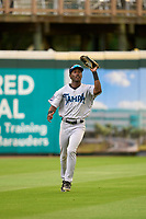 Tampa Tarpons outfielder Kyle Battle (43) catches a fly ball during Game One of the Low-A Southeast Championship Series against the Bradenton Marauders on September 21, 2021 at LECOM Park in Bradenton, Florida.  (Mike Janes/Four Seam Images)