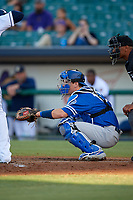 Oklahoma City Dodgers catcher Will Smith (10) awaits the pitch during a Pacific Coast League game against the New Orleans Baby Cakes on May 6, 2019 at Shrine on Airline in New Orleans, Louisiana.  New Orleans defeated Oklahoma City 4-0.  (Mike Janes/Four Seam Images)
