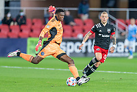 WASHINGTON, DC - APRIL 17: Sean Johnson #1 of New York City FC punts the ball during a game between New York City FC and D.C. United at Audi Field on April 17, 2021 in Washington, DC.