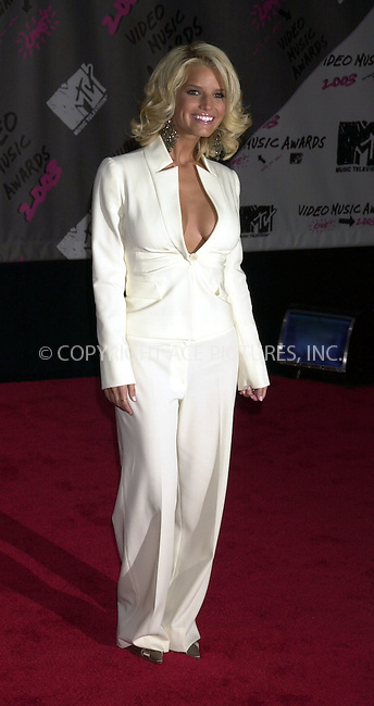 Jessica Simpson at 2003 Video Music Awards. New York, August 28, 2003. Please byline: NY Photo Press.   ..*PAY-PER-USE*      ....NY Photo Press:  ..phone (646) 267-6913;   ..e-mail: info@nyphotopress.com