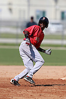 Boston Red Sox minor league shortstop Jose Vinicio (17) during a game vs. the Minnesota Twins in an Instructional League game at Lee County Sports Complex in Fort Myers, Florida;  October 1, 2010.  Photo By Mike Janes/Four Seam Images