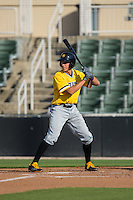 Cole Tucker (2) of the West Virginia Power at bat against the Kannapolis Intimidators at CMC-Northeast Stadium on April 21, 2015 in Kannapolis, North Carolina.  The Power defeated the Intimidators 5-3 in game one of a double-header.  (Brian Westerholt/Four Seam Images)