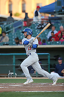 Joe Bennie (13) of the Stockton Ports bats against the Lancaster JetHawks at The Hanger on May 26, 2016 in Lancaster, California. Stockton defeated Lancaster, 16-7. (Larry Goren/Four Seam Images)