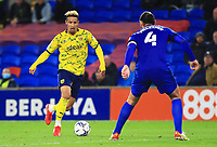 28th September 2021; Cardiff City Stadium, Cardiff, Wales;  EFL Championship football, Cardiff versus West Bromwich Albion; Callum Robinson of West Bromwich Albion faces up against Sean Morrison of Cardiff City