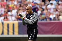 Tim Howard (1) of the USMNT talks to his team at Lincoln Financial Field in Philadelphia, PA.  The USMNT defeated Turkey, 2-1.
