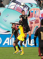 San Francisco, California - Saturday March 17, 2012: Hiram Mier and Aliou Coly in action during the Mexico vs Senegal U23 in final Olympic qualifying tuneup. Mexico defeated Senegal 2-1