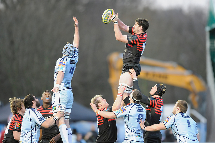 20130127 Copyright onEdition 2013©.Free for editorial use image, please credit: onEdition..Eoin Sheriff of Saracens wins the lineout ball during the LV= Cup match between Saracens and Cardiff Blues at Allianz Park on Sunday 27th January 2013 (Photo by Rob Munro)..For press contacts contact: Sam Feasey at brandRapport on M: +44 (0)7717 757114 E: SFeasey@brand-rapport.com..If you require a higher resolution image or you have any other onEdition photographic enquiries, please contact onEdition on 0845 900 2 900 or email info@onEdition.com.This image is copyright onEdition 2013©..This image has been supplied by onEdition and must be credited onEdition. The author is asserting his full Moral rights in relation to the publication of this image. Rights for onward transmission of any image or file is not granted or implied. Changing or deleting Copyright information is illegal as specified in the Copyright, Design and Patents Act 1988. If you are in any way unsure of your right to publish this image please contact onEdition on 0845 900 2 900 or email info@onEdition.com