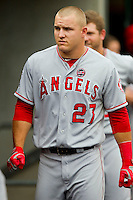 Mike Trout (27) of the Los Angeles Angels prior to the game against the Detroit Tigers at Comerica Park on June 25, 2013 in Detroit, Michigan.  The Angels defeated the Tigers 14-8.  (Brian Westerholt/Four Seam Images)