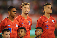 EAST RUTHERFORD, NJ - SEPTEMBER 7: Reggie Cannon #20 of the United States, Walker Zimmerman #4 of the United States, Aaron Long #3 of the United States during the presentation of the team during a game between Mexico and USMNT at MetLife Stadium on September 6, 2019 in East Rutherford, New Jersey.