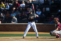 Johnny Aiello (2) of the Wake Forest Demon Deacons at bat against the Florida State Seminoles at David F. Couch Ballpark on April 16, 2016 in Winston-Salem, North Carolina.  The Seminoles defeated the Demon Deacons 13-8.  (Brian Westerholt/Four Seam Images)
