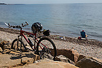 Cyclists on the Shining Sea bike path, Falmouth, Cape Cod, Massachusetts, USA