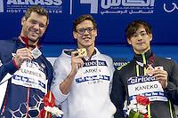 (L to R) Plummer David USA; LARKIN Mitchell AUS; KANEKO Masaki JPN<br /> 100 Backstroke men<br /> FINA Airweave Swimming World Cup 2015<br /> Doha, Qatar 2015  Nov.2 nd - 3 rd<br /> Day1 - Nov. 2 nd Finals<br /> Photo G. Scala/Deepbluemedia