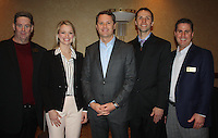 NWA Democrat-Gazette/CARIN SCHOPPMEYER Jack Eaton, Single Parent Scholarship Fund of Benton County executive director(from left), Sarah Beers, Doug McMillon, Wal-Mart Stores Inc. president and chief executive officer, Brian Wood and Hank Schepers gather at a VIP reception before the scholarship fund's annual Corporate Luncheon on Wednesday.