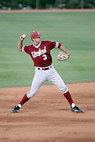 Kenny Diekroger #3 of the Stanford Cardinal plays against the Arizona State Sun Devils on April 29, 2011 at Packard Stadium, Arizona State University, in Tempe, Arizona. .Photo by:  Bill Mitchell/Four Seam Images.