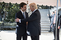 President Donald Trump bids farewell to Canadian Prime Minister Justin Trudeau, Monday, Feb. 13, 2017, at the South Portico of the White House in Washington, D.C. (Official White House Photo by Shealah Craighead)