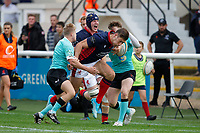 Jonas Mikalcus of London Scottish loses the ball during the Championship Cup match between London Scottish Football Club and Nottingham Rugby at Richmond Athletic Ground, Richmond, United Kingdom on 28 September 2019. Photo by Carlton Myrie / PRiME Media Images