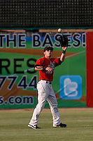 Brock Hebert #4 of the High Desert Mavericks catches a throw between innings of a game against the Modesto Nuts at Stater Bros. Stadium on June 29, 2013 in Adelanto, California. Modesto defeated High Desert, 7-2. (Larry Goren/Four Seam Images)