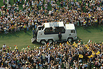 Pope John Paul 2 visits Glasgow Scotland UK Popemobile in Bellahouston Park 1982 UK 1980s