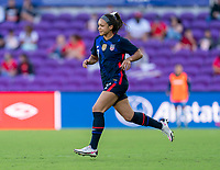 ORLANDO, FL - FEBRUARY 21: Sophia Smith #17 of the USWNT enters the field during a game between Brazil and USWNT at Exploria Stadium on February 21, 2021 in Orlando, Florida.
