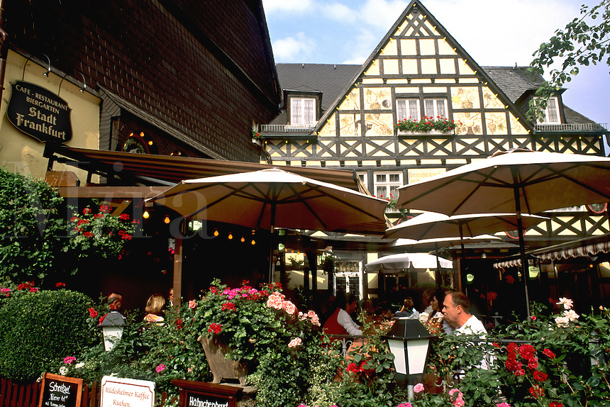 Germany Wertheim Old Town by Rhine River tourists at Stadt Franfurt Restaurant