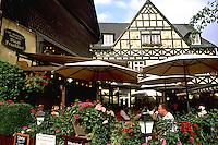 Germany Wertheim Old Town by Rhine River tourists at Stadt Franfurt Restaurant