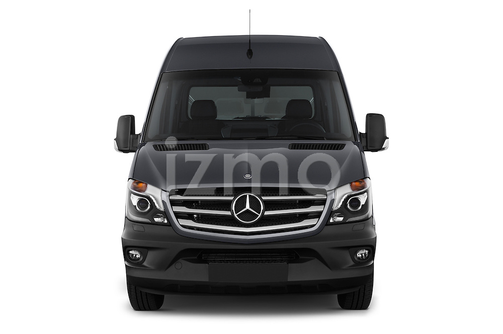 Car photography straight front view of a 2014 Mercedes Benz Sprinter 319 Bluetec Extra Long High roof 4 Door Cargo Van 2WD Front View