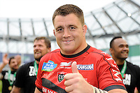 Andrew Sheridan of RC Toulon celebrates winning the Heineken Cup Final between ASM Clermont Auvergne and RC Toulon at the Aviva Stadium, Dublin on Saturday 18th May 2013 (Photo by Rob Munro)