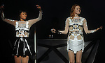 Icono Pop's Aino Jawo and Caroline Hjelt  open the show for  Miley Cyrus at the Toyota Center  Sunday  March 16, 2014.(Dave Rossman photo)