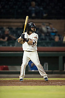 Scottsdale Scorpions second baseman C.J. Hinojosa (8), of the San Francisco Giants organization, at bat during an Arizona Fall League game against the Mesa Solar Sox on October 9, 2018 at Scottsdale Stadium in Scottsdale, Arizona. The Solar Sox defeated the Scorpions 4-3. (Zachary Lucy/Four Seam Images)