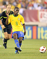 Ramires #8 of Brazil makes a pass during an international friendly match against the USA in Giants Stadium, on August 10 2010, in East Rutherford, New Jersey.Brazil won 2-0.