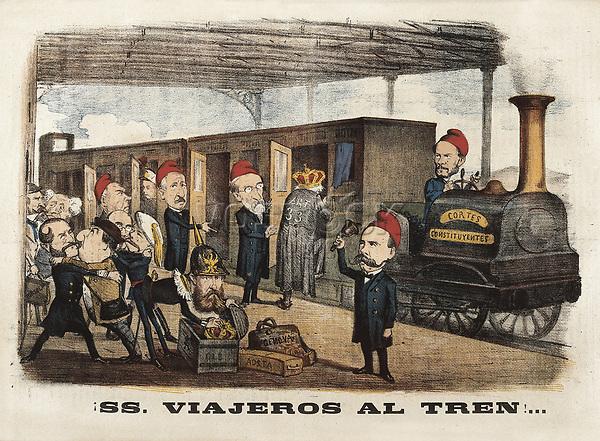 "Spain (1868). Glorious Revolution. ""SS. Viajeros al Tren..."", caricature of the magazine ""La Flaca"". Joan Prim drives the trai"