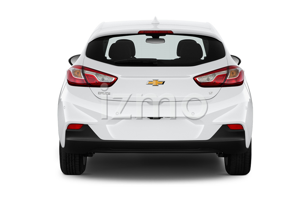 Straight rear view of 2019 Chevrolet Cruze LT 5 Door Hatchback Rear View  stock images