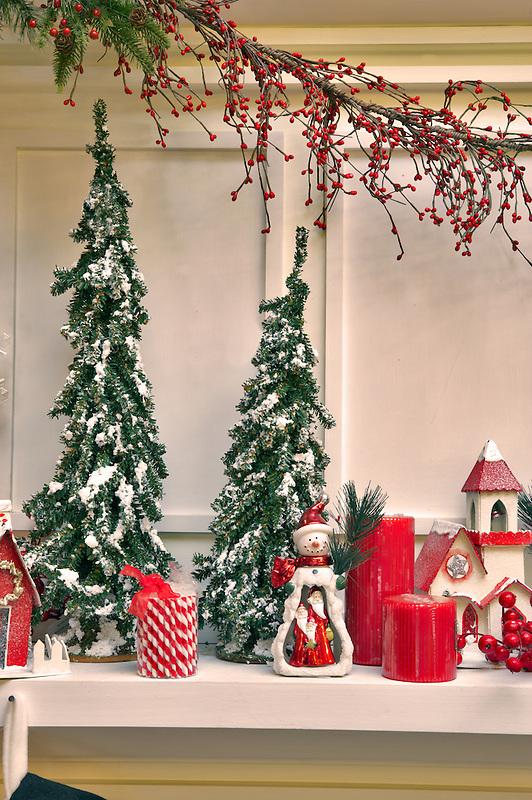 Christmas decorations on fireplace mantle. Al's Nursery. Woodburn. Oregon