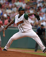 July 1, 2005:  Pitcher Fausto Carmona of the Buffalo Bisons during a game at Dunn Tire Park in Buffalo, NY.  Buffalo is the International League Triple-A affiliate of the Cleveland Indians.  Photo by:  Mike Janes/Four Seam Images