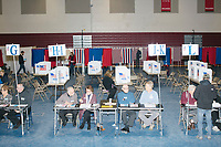 A view of the polling place during the New Hampshire Presidential Primary at Bedford High School in Bedford, New Hampshire, on Tue., Feb. 11, 2020.