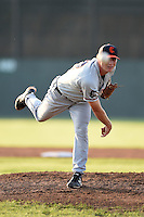 Connecticut Tigers pitcher Austin Pritcher (12) delivers a warmup pitch during a game against the Batavia Muckdogs on July 21, 2014 at Dwyer Stadium in Batavia, New York.  Connecticut defeated Batavia 12-3.  (Mike Janes/Four Seam Images)