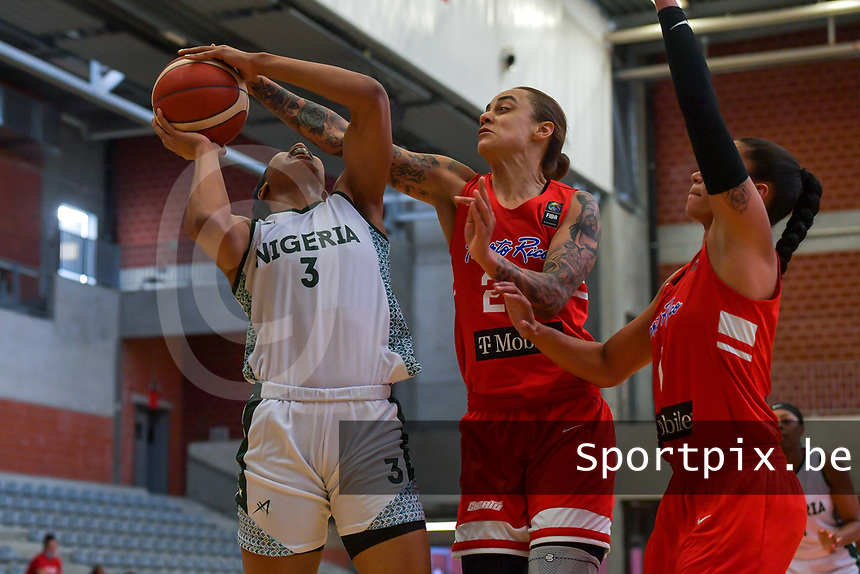 Pallas Kunaiyi-Akpanah (3) of Nigeria and J. Gwathney (24) of Puerto Rico pictured during a basketball game between Nigeria and Puerto Rico on Friday 28 th of May 2021 in Kortrijk , Belgium . PHOTO SPORTPIX.BE   SPP   STIJN AUDOOREN