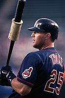 Jim Thome of the Cleveland Indians during a 2000 season MLB game at Angel Stadium in Anaheim, California. (Larry Goren/Four Seam Images)