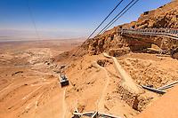 Israel,Galilee,Masada,king Herod fortress, view of nake path to Masada and Cableway