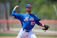 New York Mets pitcher Jose Moreno (87) during a Minor League Extended Spring Training game against the Miami Marlins on April 12, 2019 at First Data Field Complex in St. Lucie, Florida.  (Mike Janes/Four Seam Images)