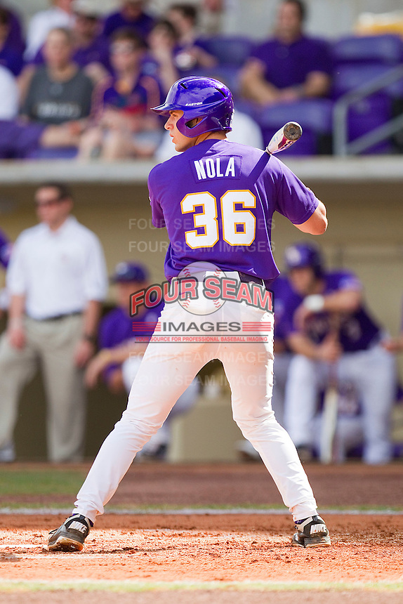 Austin Nola #36 of the LSU Tigers at bat against the Wake Forest Demon Deacons at Alex Box Stadium on February 20, 2011 in Baton Rouge, Louisiana.  The Tigers defeated the Demon Deacons 9-1.  Photo by Brian Westerholt / Four Seam Images