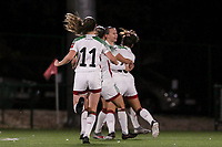 OHL players celebrate their team's goal during a female soccer game between Oud Heverlee Leuven and Sporting de Charleroi on the seventh matchday of the 2020 - 2021 season of Belgian Womens Super League , sunday 15 th of November 2020  in Heverlee , Belgium . PHOTO SPORTPIX.BE | SPP | SEVIL OKTEM