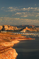 Houseboats in the Wahweap Area, Lake Powell, Glen Canyon Recreation Area, Page, Arizona.