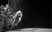Ryder Hesjedal (CAN/Trek-Segafredo) exiting the velodrome to start his prologue<br /> <br /> stage 1: Apeldoorn prologue 9.8km<br /> 99th Giro d'Italia 2016