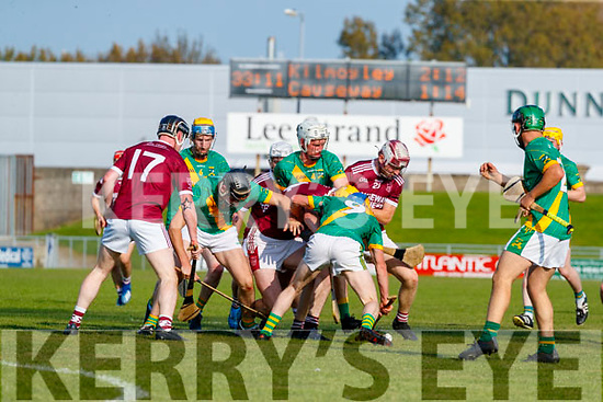 Paudie O'Connor, Kilmoyley in action against Sean Leahy, Causeway during the Kerry County Senior Hurling Championship Final match between Kilmoyley and Causeway at Austin Stack Park in Tralee