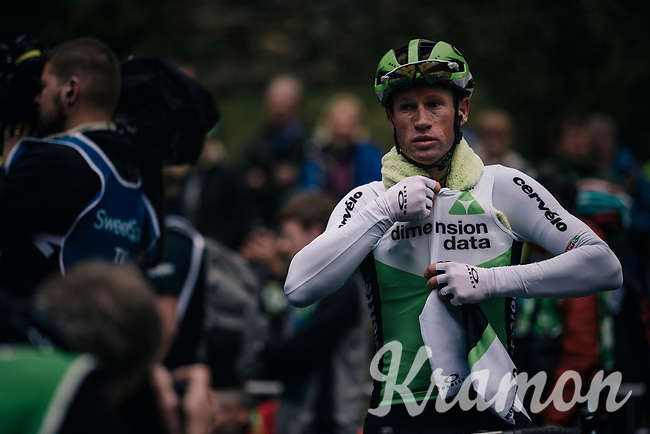 Mark Renshaw (AUS/Dimension Data) getting ready to descend after the finish<br /> <br /> Racing in/around Lake District National Parc / Cumbria<br /> <br /> Stage 6: Barrow-in-Furness to Whinlatter Pass   (168km)<br /> 15th Ovo Energy Tour of Britain 2018
